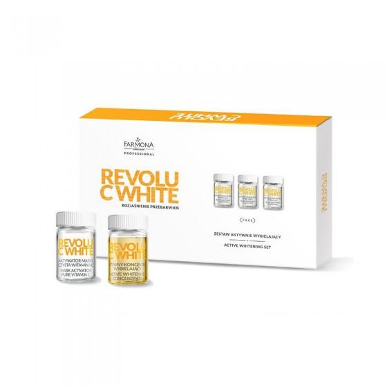 FARMONA REVOLU C WHITE Zestaw aktywnie wybielający: 10* aktywny koncentrat wybielający, 10* aktywator maski-czysta witamina C,