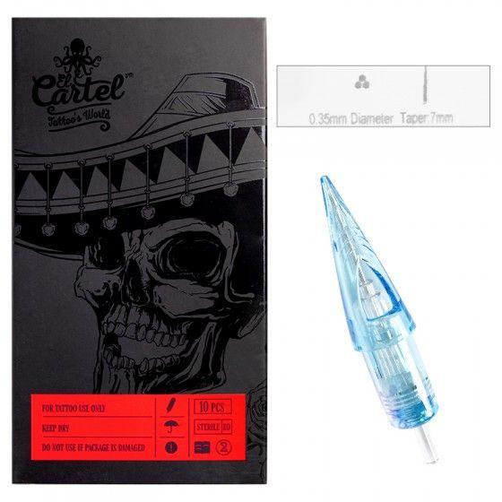 Igły Kartridże do tatuażu El Cartel 0.35mm 3RL Liner LongTaper 10 szt.